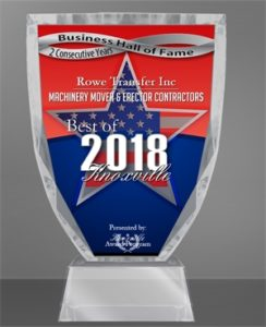2018 Best of Knoxville Award for Machinery Mover & Erector Contractors